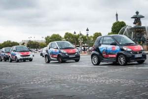 Campagne d'affichage avec un fort impact visuel sur 300 véhicules Smart présents dans tout Paris !