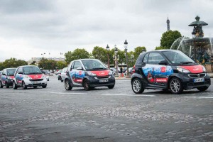 Strong visibility for the advertising campaign with 300 Smart cars in whole Paris!